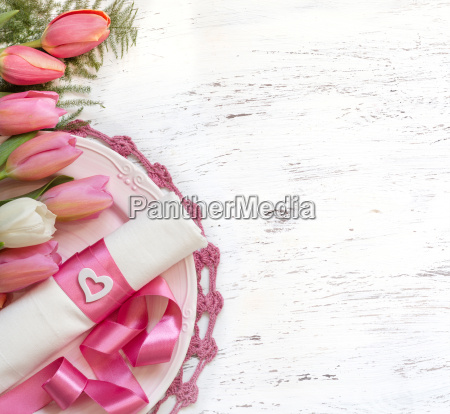 festive wedding table setting in pink