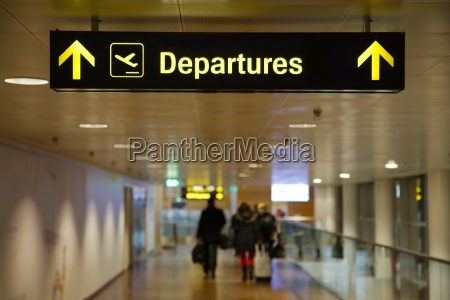 departures airport sign