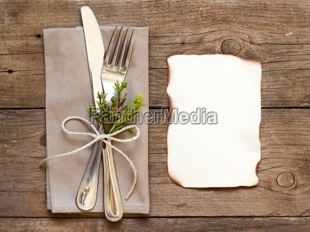 rustic table setting and old burned