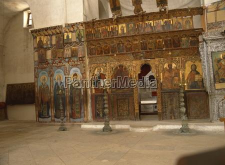 the iconostasis in the orthodox monastery