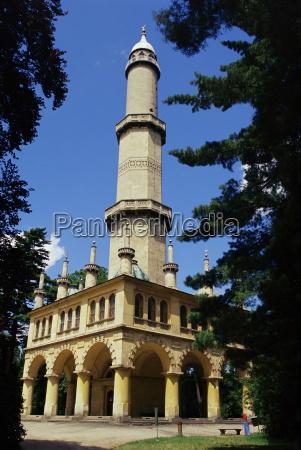 turkish style minaret in chateau gardens
