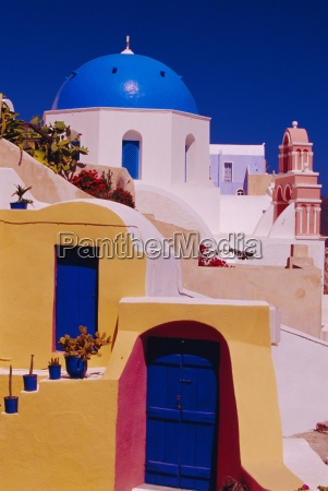 traditional colour house and church oia