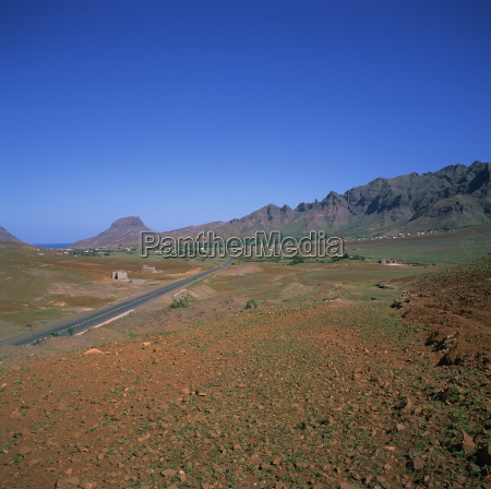 road across a volcanic crater with