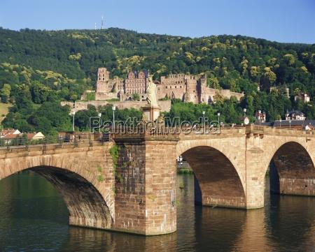 castle neckar river and alte bridge