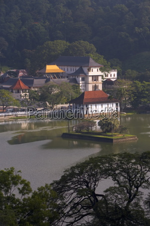 view over kandy lake to the