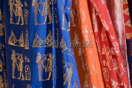 coloured materials with ancient egyptian motifs