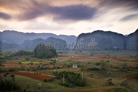 dusk view across vinales valley showing
