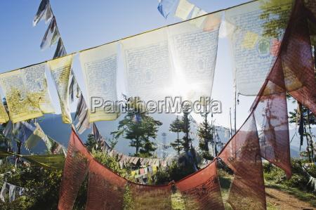 prayer flags above thimphu bhutan asia