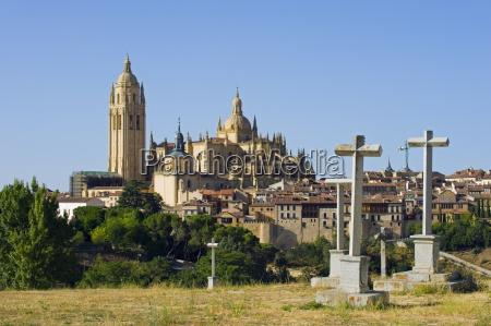 cemetery crosses and gothic style segovia
