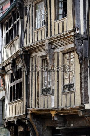 street of half timbered houses dinan