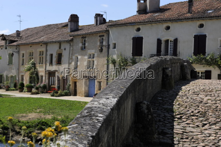 street of medieval houses viewed from