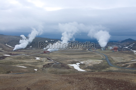 steaming vents and geothermal power stations