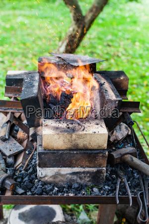 steel rod is heated in rural