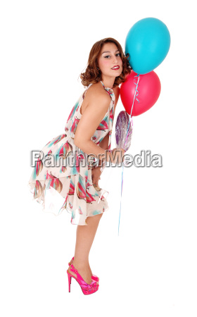 lovely woman with two balloons
