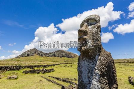 single moai statue guards the entrance