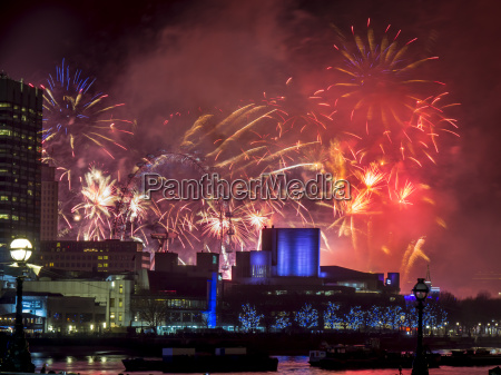 fireworks over the south bank london