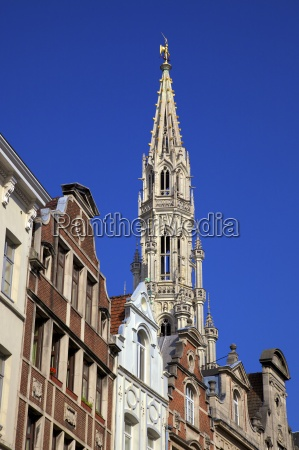 town hall spire grand place unesco