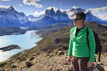 hiker at condor vista point lago