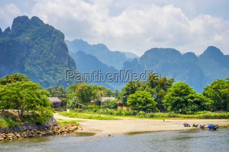 nam song river and karst landscape