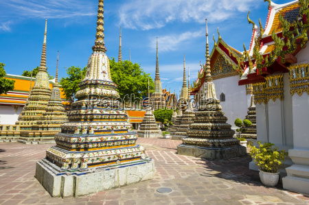 stupas at wat pho temple of
