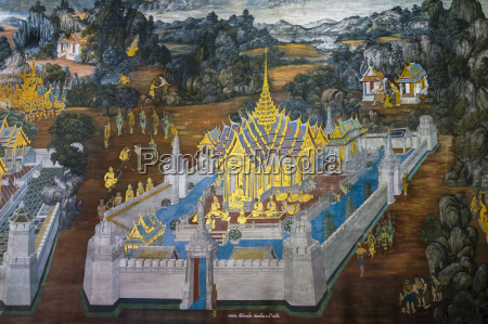 murals depicting scenes from the ramakien