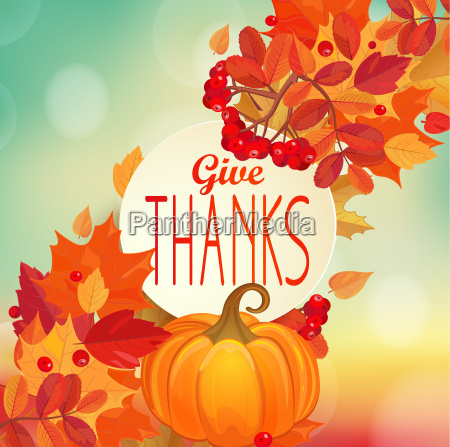 give thanks autumn background with