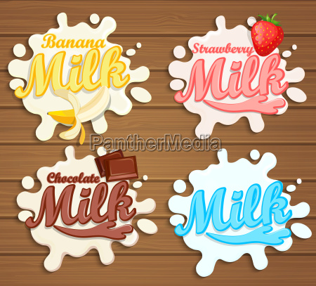 milk labels splash on wood background