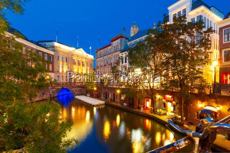 canal oudegracht and bridge utrecht netherlands
