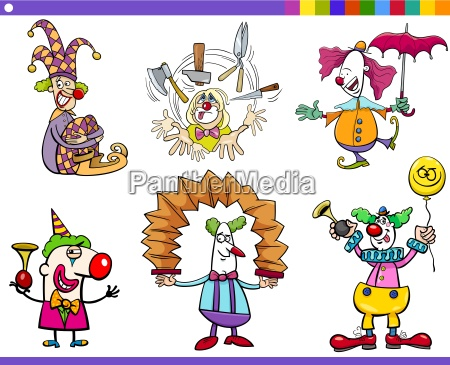 circus clown characters set
