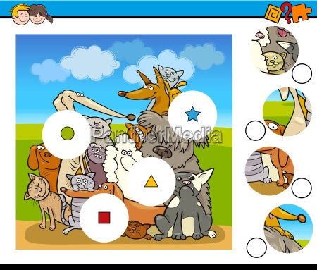 match pieces game with dogs