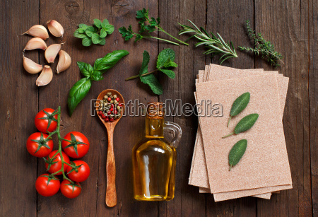whole wheat lasagna sheets and ingredients