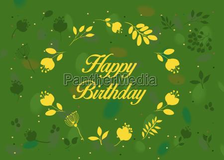 happy birthday green floral card