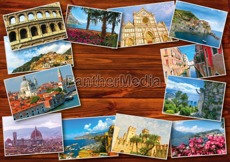 collage from photos of italy on