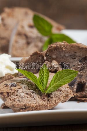 lemon balm on chocolate ice cream