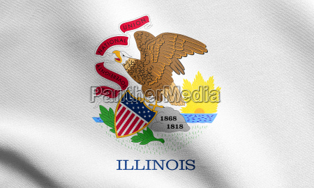 flag of illinois waving with fabric