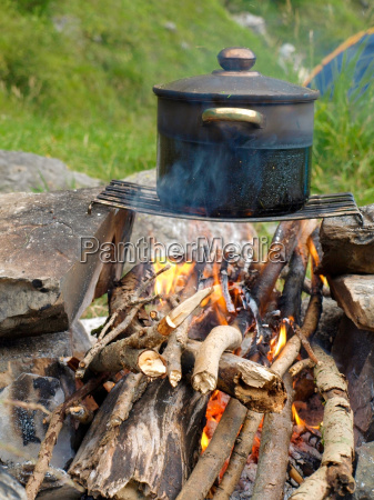pot over fire on the nature