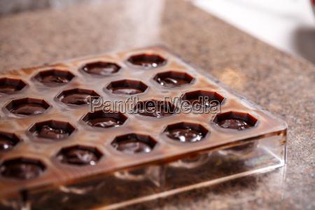 mold with chocolate