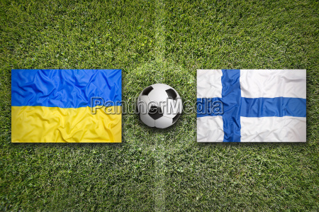 ukraine vs finland flags on soccer