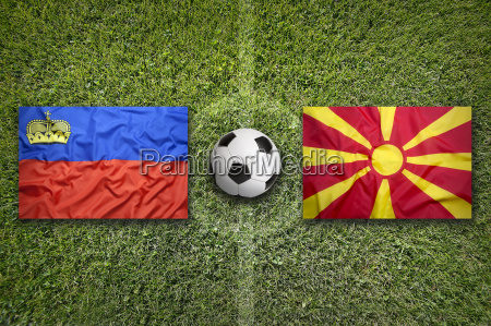 liechtenstein vs macedonia flags on soccer