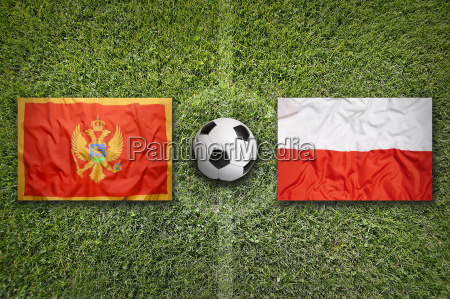 montenegro vs poland flags on soccer