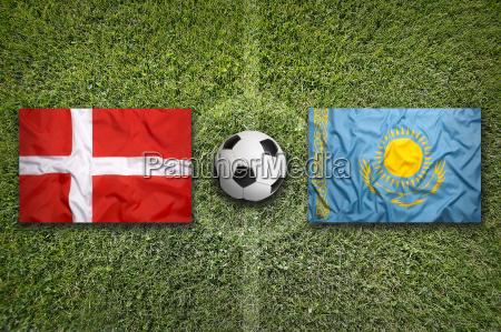 denmark vs kazakhstan flags on soccer