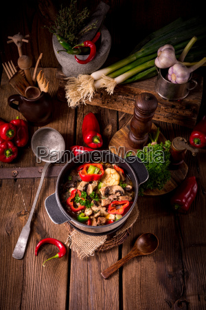 goulash with colored vegetables