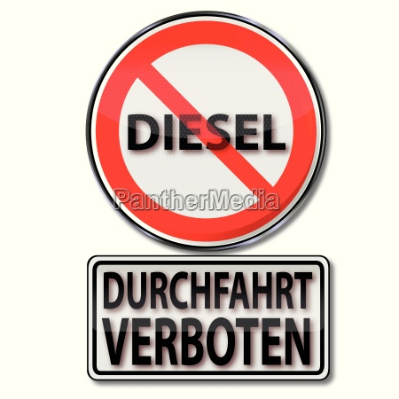 shield with passage prohibited for diesel