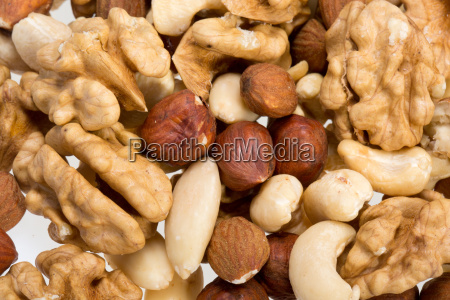 background of mixed nuts hazelnuts