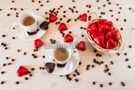 red chocolate hearts in a small