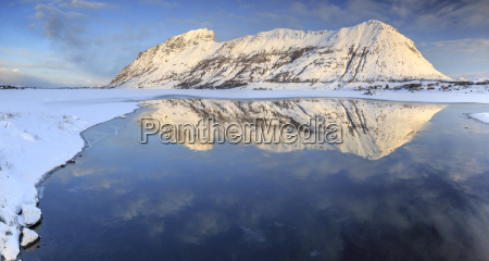 snow capped mountains reflected in steiropollen