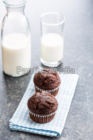 the tasty chocolate muffins and milk
