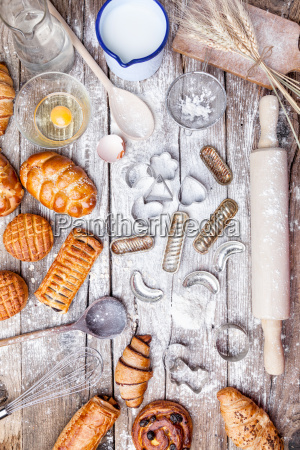 delicious holiday baking background with ingredients