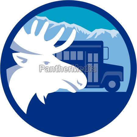 moose head school bus circle retro
