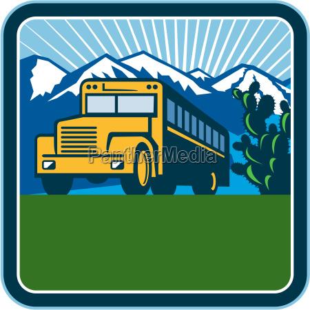 school bus cactus mountains square retro